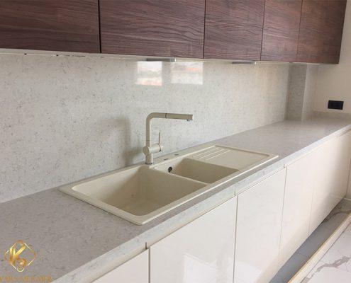 kartal beyaz çimstone mutfak tezgahı